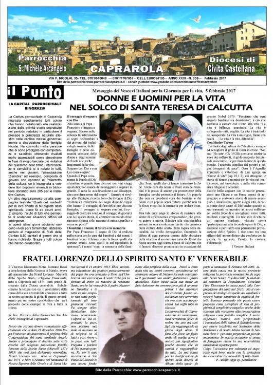 Notiziario parrocchiale FEBBRAIO 2017