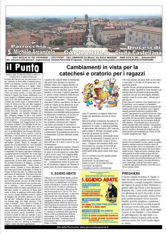 NOTIZIARIO PARROCCHIALE DEL MESE DI SETTEMBRE 2019