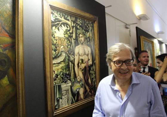 VITTORIO SGARBI accanto al dipinto del Medium Piancastelli