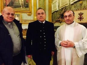 im Bild von links Don Massimo Cuofano, Pantaleo Losapio, Don Luciano Rotolo
