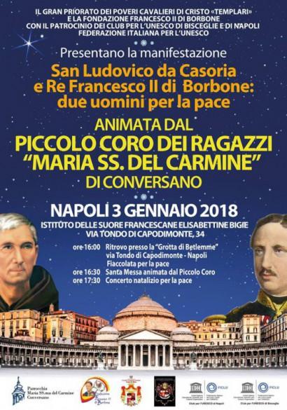 manifesto della manifestazione tenuta a Napoli il 3 gennaio 2018 in onore di Francesco II e di San Ludovico da Casoria