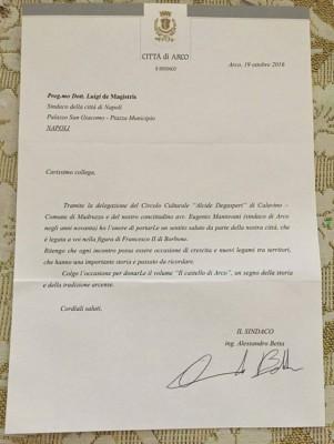 Lettera del Sindaco di Arco al Sindaco di Napoli