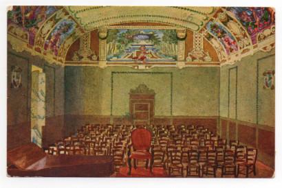 Teatro- Cartolina dipinta a mano. Collezione di Filippo Briccoli